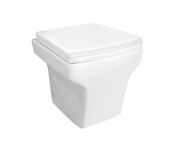 Floor mounted toilet without tank